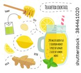 recipe detox cocktail with... | Shutterstock .eps vector #384461020
