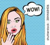 pop art redhead woman surprised ...   Shutterstock . vector #384468406