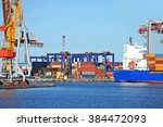 container stack and ship under... | Shutterstock . vector #384472093