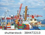 container stack and cargo ship... | Shutterstock . vector #384472213