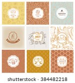 set of vector bakery logo.... | Shutterstock .eps vector #384482218