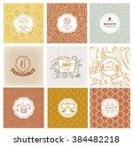 set of vector bakery logo.... | Shutterstock .eps vector #384482218