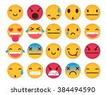 set of cute emoticons isolated... | Shutterstock .eps vector #384494590