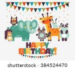 happy birthday   lovely vector... | Shutterstock .eps vector #384524470