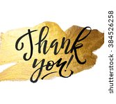 shine gold foil thank you card. ... | Shutterstock .eps vector #384526258