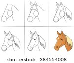 six steps of drawing a horse...