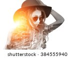 double exposure beautiful girl... | Shutterstock . vector #384555940