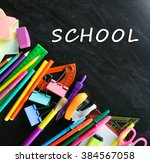 colourful stationery on... | Shutterstock . vector #384567058