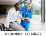 friendly medical nurse helping... | Shutterstock . vector #384568273