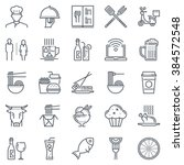 Restaurant icon set suitable for info graphics, websites and print media. Black and white flat line icons. | Shutterstock vector #384572548