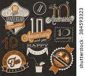 vintage style 10 anniversary... | Shutterstock .eps vector #384593323