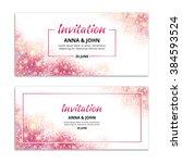 pink wedding glitter invitation ... | Shutterstock .eps vector #384593524
