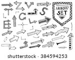 hand drawn arrow icons set on... | Shutterstock . vector #384594253