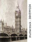 Vintage View Of Big Ben  London.