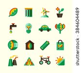 ecology icons set with... | Shutterstock .eps vector #384604489