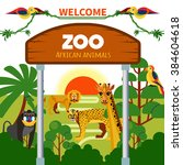 zoo african animals with exotic ... | Shutterstock .eps vector #384604618