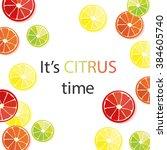 citrus background. lemon ... | Shutterstock .eps vector #384605740