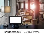 point of sale pov with blank... | Shutterstock . vector #384614998