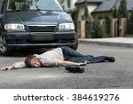 pedestrian hit by a car lying... | Shutterstock . vector #384619276