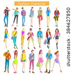 fashionable urban and woman... | Shutterstock .eps vector #384627850