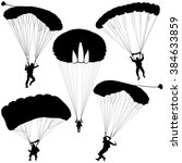 set skydiver  silhouettes...   Shutterstock . vector #384633859