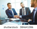 businessmen shaking hands... | Shutterstock . vector #384641386