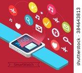 smart watch technology concept... | Shutterstock .eps vector #384643813