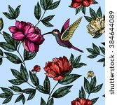 hummingbird with flowers pattern | Shutterstock .eps vector #384644089