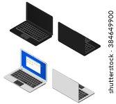 isometric set of laptops. black ... | Shutterstock .eps vector #384649900