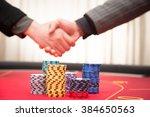 stack of gambling chips in... | Shutterstock . vector #384650563