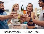 friends having fun and drinking ... | Shutterstock . vector #384652753