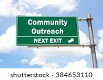 Small photo of Green overhead road sign with a Community Outreach Next Exit concept against a partly cloudy sky background.
