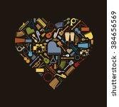musical heart. variety of... | Shutterstock .eps vector #384656569