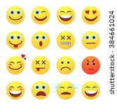 set of emotional yellow face on ... | Shutterstock .eps vector #384661024