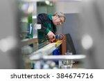 industrial worker in... | Shutterstock . vector #384674716