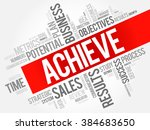 achieve word cloud  business... | Shutterstock .eps vector #384683650
