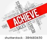 achieve word cloud  business... | Shutterstock .eps vector #384683650