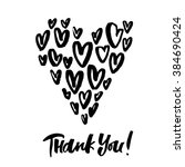 thank you  hand drawn phrase... | Shutterstock .eps vector #384690424