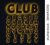yellow 'club' neon lights... | Shutterstock .eps vector #384692050