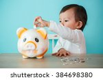 little baby moneybox putting a... | Shutterstock . vector #384698380
