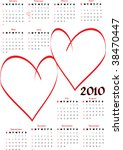 2010 calendar with blank hearts ... | Shutterstock .eps vector #38470447