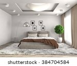 bedroom interior. 3d... | Shutterstock . vector #384704584