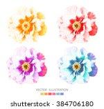 peonies flower. set of vector...   Shutterstock .eps vector #384706180