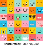set of colorful emoticons ... | Shutterstock .eps vector #384708250