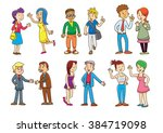 set of  people talking cartoon... | Shutterstock .eps vector #384719098