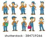 mechanic cartoon charactor.... | Shutterstock .eps vector #384719266