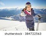 Ski. Funny Female Skier On The...