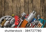 set of auto parts on the old...   Shutterstock . vector #384727780