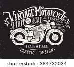 vintage motorcycle. hand drawn... | Shutterstock .eps vector #384732034