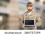 portrait of young army soldier...   Shutterstock . vector #384737299